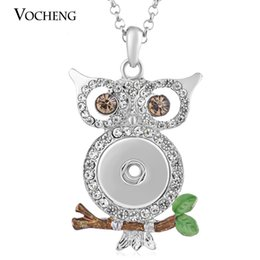 Wholesale Stainless Necklace Bling - NOOSA Ginger Snap Jewelry Owl Necklace 18mm Interchangeable Bling with Stainless Steel Chain VOCHENG NN-385