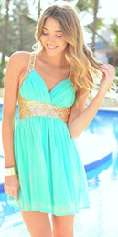 Wholesale Cheap Semi Dresses - Short Cheap 2015 Homecoming Dresses With Gold Sequined Straps Chiffon Skirt Semi Turquoise Formal Mini Prom Party Cocktail Dress Cheap