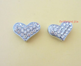 Wholesale Dog Collar Heart Charms - 10mm full rhinestone heart slide charms zinc alloy fit 10mm belt pet dog cat collars