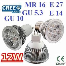 Wholesale E14 Dimmable Super Bright - High power CREE 12W 4x3W Dimmable GU10 MR16 E27 E14 GU5.3 Led Light Lamp Spotlight led bulb Warm Cool Pure White Energy Saving Super Bright