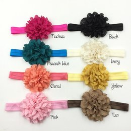 Wholesale Eyelet Flowers - Trial order Eyelet Flower Headbands On Shimmer Fold Over Headbands Newborn Headband Toddlers Headband 30pcs lot
