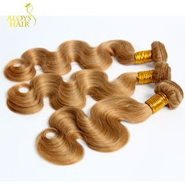 human hair weave honey blonde Promo Codes - Honey Blonde Brazilian Hair Body Wave 100% Human Hair Weave Wavy Bundles Color 27# Grade 8A Brazilian Virgin Remy Hair Extension Tangle Free