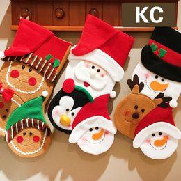 2019 calzino decorazioni di natale Calza di Natale di buona qualità Grande formato 50 * 30cm Sacchetto regalo di Natale Calza Calza di decorazione dell'albero di Natale Calze di Natale Calze di caramella sconti calzino decorazioni di natale