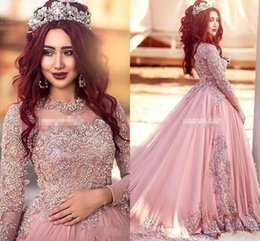 Wholesale Elegant Long Sleeve Evening Dresses - 2018 Arabic Dubai Long Sleeves Evening Dresses Elegant Prom Dresses With Sequins Red Carpet Runway Dresses Formal Evening Gowns Custom