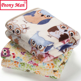 Wholesale Baby Thick Blankets - Wholesale- High Quality Baby Blanket Cartoon 80x100 Cobertor Aircon Child Sheet Thick Warm Peony Man Blankets Super Soft Flannel Fleece