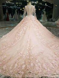 vestido de noiva com vestido de bola Desconto 2018 queda do inverno de neve jardim V neck vestido de Baile mangas compridas vestidos de casamento ocidental mãos feitas flores vestidos de casamento de noiva