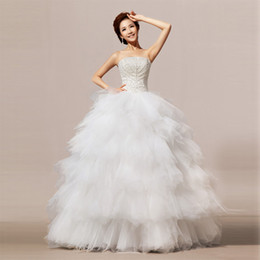 Wholesale Super Plus Size Wedding Gowns - Hs0034 New Embroidery 2015 Latest Korean Style Princess Corst Super Large Fluffy Elegant Luxury Ball Gown Wedding Dress