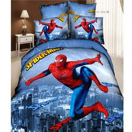 Wholesale Queen Kids Sheets - 3D Spiderman Kids Cartoon Bedding Sets Bedroom Children Queen Size Bedspread Bed in A Bag Sheets Duvet Cover Bedsheet Home Texile