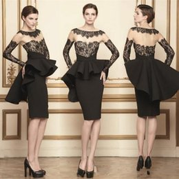 Wholesale Nude Knee Length Dresses - Red Carpet Celebrity Formal Evening Gowns Arabic 2015 Black Long Sleeves With Lace Sheer Neck Cocktail Party Dresses Peplum Black Satin