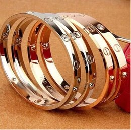 Wholesale Toggle Clasps For Bracelets - 2017 for New screws never lose style silver 18k rose gold 316L stainless steel forever lovers screw bangle bracelet without screwdriver