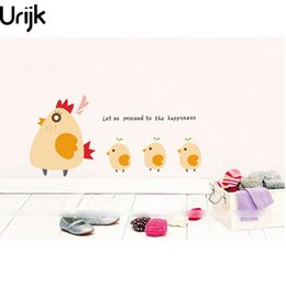 Wholesale Chicken Wall Decal - Urijk DIY Cartoon Lovely Chickens Wall Sticker For Home Decors Kids Gift Room Fridge Kitchen Vinyl DIY Poster Wall Decals