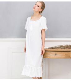Wholesale Women S Long Sleeve Nightgowns - Wholesale- Long White Nightgown Summer Nightgowns For Women Ladies Nightgown Cotton Short Sleeve Nightie Night Dress Chemise De Nuit Femme