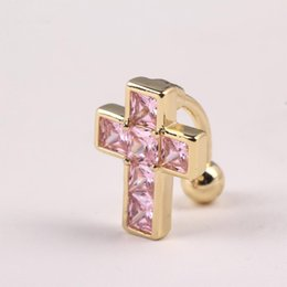 Wholesale Belly Cross - hot belly Navel button jewelry new cross body piercing jewelry steel navel nail b6 50dlbb