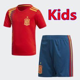 Wholesale Teen Xxl - Best quality 2018 World Cup Spain Kids   Teen Jersey MORATA ISCO ASENSIO RAMOS SILVA PEDRO TORRES A.INIESTA FABREGAS Kids Rugby Jersey
