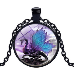 Wholesale Long Chained Gemstone Necklace - Long pendants time gem animal necklace Purple dragon pendants time gemstone necklace convex round glass jewelry