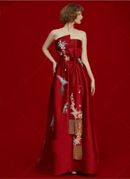 Wholesale Chinese Two Piece Dress - 2017 Vintage Chinese style embroidery red satin evening dress crystal tassel sash bow strapless red celebritely dress
