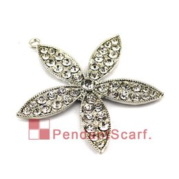 Wholesale Metal Fashion Jewelry Flowers - Pendant Scarf Jewelry Metal Rhinestone Flower Charm Pendant DIY Fashion Necklace Scarf Accessories, Free Shipping, AC0325