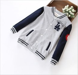 Wholesale Baseball Uniform Wholesale - Big Boys Clothes Baseball Uniform Jackets Coats 2015 Children's Long Sleeve Cardigan Single-breasted Tracksuit Coats Outwear Boy Sportswear