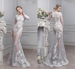 Wholesale See Through Bodice Wedding Dresses - 2017 Vintage Lace See Through Wedding Dress Sheer Illusion Bodice Cheap Long Sleeves Wedding Gowns Celebrity Mermaid Wedding Dresses