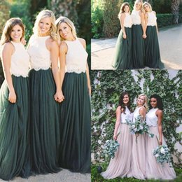 Wholesale Two Tone Wedding Dress Brown - Two Tone Lace Crop Country Long Bridesmaid Dresses 2018 Hunter Green Plus Size Junior Maid of Honor Wedding Party Guest Gowns