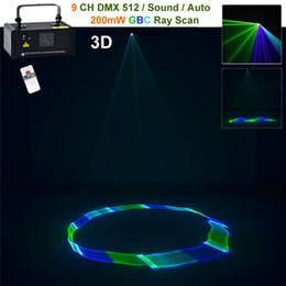 Wholesale Dj Laser Light 3d - Mini 200mw 3D Green Blue Mixed Cyan DMX 512 Remote Sound Projector Stage Equipment Light DJ KTV Show Holiday Laser Lighting TDM-GBC200