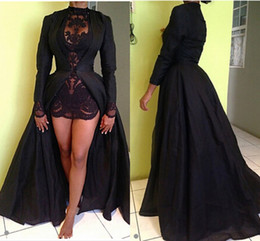 Wholesale Taffeta Line Applique Dress - Sexy Sheer Black High Low Evening Dresses Appliques Long Sleeves Winter Satin Prom Dresses FASHION Party Gowns
