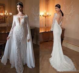 wedding dresses lace cloaks Coupons - Berta Lace Wedding Dresses Sexy Long Sleeves Sheer Button Illusion Back Lace Appliques Sequin Gowns Sweep Train Bateau Neck with Cloak