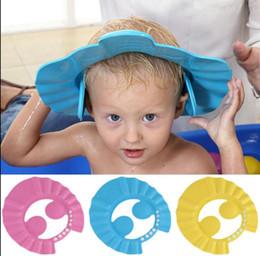 Wholesale Safe Shampoo Shower Cap - Safe Shampoo Shower Bathing Bath Protect Cap Hat For Baby Wash Hair Shield Bebes Children Bathing Shower Cap Hat Hair Shield Hats KKA3276