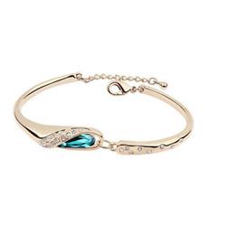 Wholesale Wholesale Gold Jewelry Online - Vintage Style Bangle Bracelets Exquisite Austrian Crystal Bracelets for Women Party Fashion Jewelry Sale Online E06
