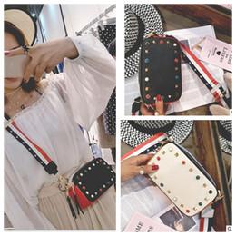 Wholesale Wholesale Leather Bag Straps - Girl Leather Shoulder Bag Rivets Purse New brands Messenger Bags Color Shoulder Strap Ladies Bag KKA3396