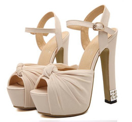 Wholesale Bow Pumps Ankle - Chiffon knot rhinestones pink wedding shoes high heels sandals bridal dance shoes 3 Colors SIZE 34 to 39