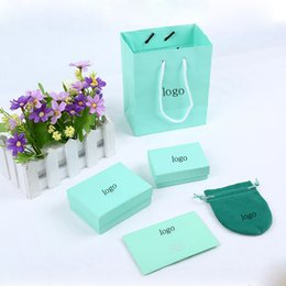 Wholesale Necklace Packing - Hot sale famous brand necklace bracelet packing box set with original handbag and velet Pouch bag jewelry gift box Blue color Bag box