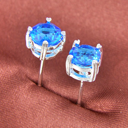 Wholesale 925 Blue Topaz - 90% off Half Dozen 6 Pairs   Lot Newest Holiday Gift Jewelry Round Blue Topaz Gemstone 925 Sterling Silver Plated USA Stud Wedding Earrings