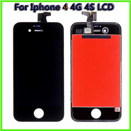 Wholesale Mobile Lcd Replacement Parts - Cell Phone Parts For Apple Iphone 4 4G Mobile Phone LCD Display Iphone 4S Digitizer Front Assembly LCD Replacement Part Touch Panels