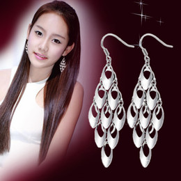 Wholesale Charm Feather Earring - 925 sterling silver jewelry free shipping multi tassel feather earrings charms girl woman hot selling earring