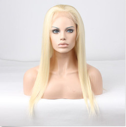 Wholesale Blond Human Hair Lace Wigs - Indian blond full lace human hair wigs 6A grade front lace wigs 130%density blond hair wigs with natural hairline