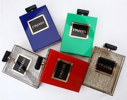 Wholesale Designer Women Perfume - 2016 Designer Clutch Bag Perfume Bottle Shape Bag Colorful Perspex Box High Quality Acrylic Evening Bag