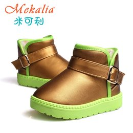 Wholesale Waterproof Boots For Girls - Children's Boots Winter Warm Waterproof PU Short Boots For Kids Boy Girls New Fashion Child Shoes Silver Golden Black Red