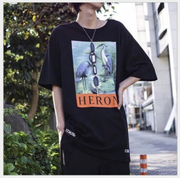 Wholesale Loose Cotton Tops For Women - 18SS HERON PRESTON T-shirt Mens Women Oversize Ins 3D Crane Pattern Loose Models Neck Cotton Short Sleeved Tees Tops For lovers