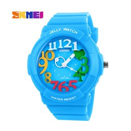 Wholesale Skmei White Silicone - DHL New Cute Children watches 3D show Dial Cartoon Watch Kid Jelly Silicone Quartz Wrist Watches SKMEI 1042 Casual Sports Watch waterproof