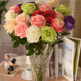 Wholesale Wedding Decor For Tables - 2015 New Artificial Fake Silk Circle Center Rose Flower Bouquet For Home Wedding Decor Table Centerpieces Decoration 7 color to choose
