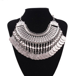 Wholesale Necklace Fringes - Top Grade Bib chokers Necklace Gypsy Bohemian Beachy Chic Silver Coin Statement Necklaces Boho Fringe Ethnic Turkish India Tribal Free 0251W