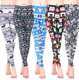 Wholesale Leggings Floral Xl - Christmas Leggings Women Winter Pants Snowman Elk Tights Floral Flowers Slim Jeggings Casual Skinny Trousers Elastic Leggings 20pcs OOA3366