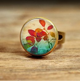 Wholesale Photo Engagement Ring - R20-Summer Leaves Necklace Glass Dome Art Picture Pendant Photo Pendant Handcrafted Jewelry