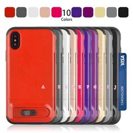 Wholesale Id Card Case Plastic - Card Pocket Slot Wallet Case For Iphone X 8 7 Plus 6 6S Hard Plastic+Soft TPU ID Card Kickstand Holder Stand Armor Shockproof Gel Skin