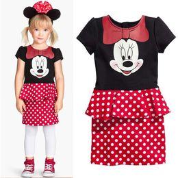 Wholesale Sell Lantern - Summer Hot Sell! Girls Minnie Mouses Pattern polka dots Short Sleeve Dress Princess Falbala Minnie cute dress party dress 5pcs lot