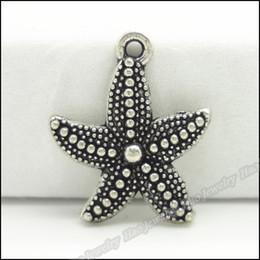 Wholesale Starfish Beads Bracelet - 100 pcs Vintage Charms Starfish Pendant Tibetan silver Zinc Alloy Fit Bracelet Necklace DIY Metal Jewelry Findings