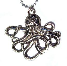 Wholesale Vintage Octopus - 10PCS Vintage Silve Steampunk Octopus Charms Statement Collar Choker Necklaces&Pendants Fashion Jewelry Brand DIY For Women U58