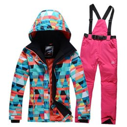 Wholesale Waterproof Wind Proof Winter Jacket - Wholesale-Hot !!! Fashion female ski suit sets winter outdoor snow suit top hoodie jacket,strap pants Wind and Water-proof 1000,-30degree