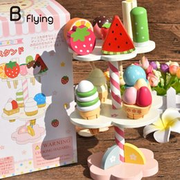 Wholesale Wooden Toy Cakes - Wholesale- Kids Play House Toy Wooden Simulation Ice Cream Three Layers Cake Learning Cute